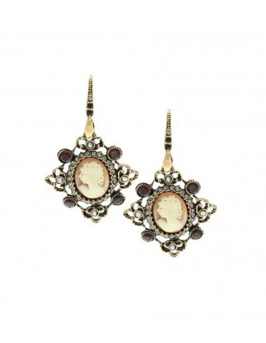 Cameo Earrings with Baroque Frame