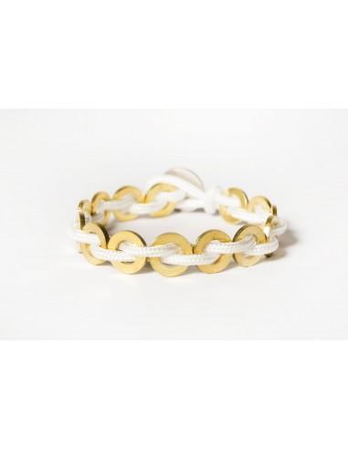 Bracciale Flatmoon Bianco -Ottone realizzato da Svitati di Sara Rizzardi