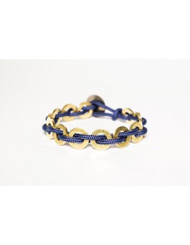 Bracciale Flatmoon Blu - Ottone  realizzato da Svitati di Sara Rizzardi