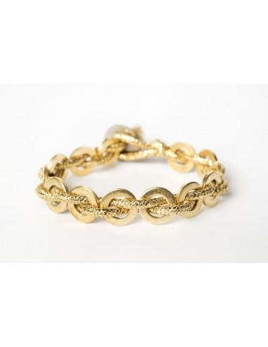 Bracciale Flatmoon Lamè Oro - Ottone  realizzato da Svitati di Sara Rizzardi