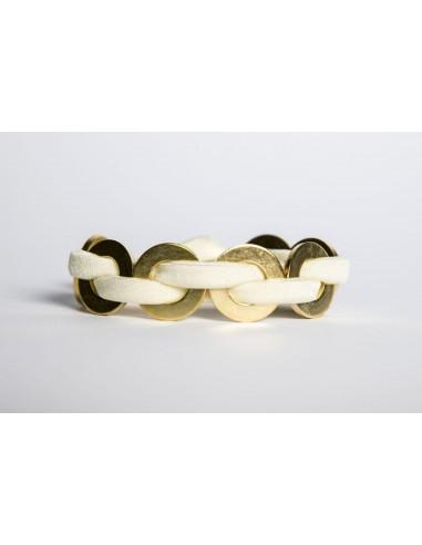 Bracciale Maxi Bianco - Lycra/Ottone realizzato da Svitati di Sara Rizzardi