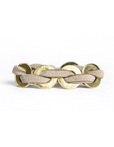 Maxi Taupe Bracelet - Lycra / Brass made by Svitati by Sara Rizzardi