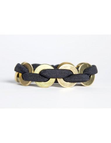 Bracciale Maxi Nero - Lycra/Ottone realizzato da Svitati di Sara Rizzardi