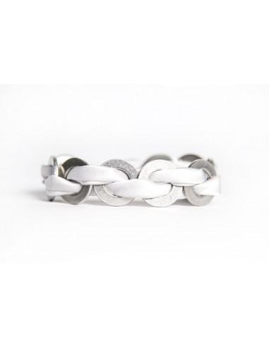 Bracciale Maxi Bianco - Seta/Inox realizzato da Svitati di Sara Rizzardi