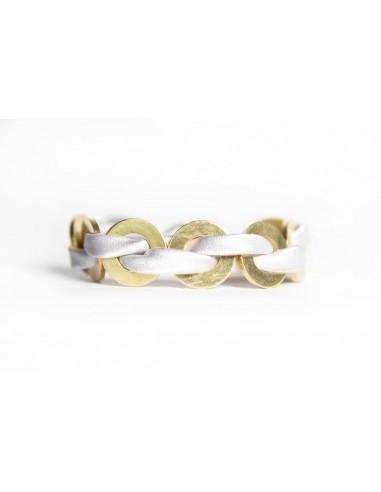 Bracciale Maxi Bianco - Seta/Ottone realizzato da Svitati di Sara Rizzardi