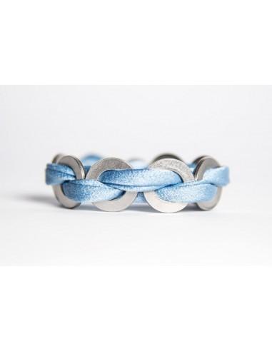 Bracciale Maxi Celeste - Seta/Inox realizzato da Svitati di Sara Rizzardi