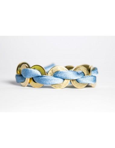 Light Blue Maxi Bracelet - Silk / Brass made by unscrewed by Sara Rizzardi