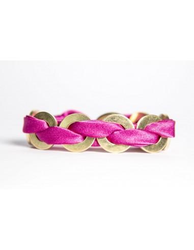 Fuchsia Maxi Bracelet - Silk / Brass made by unscrewed by Sara Rizzardi