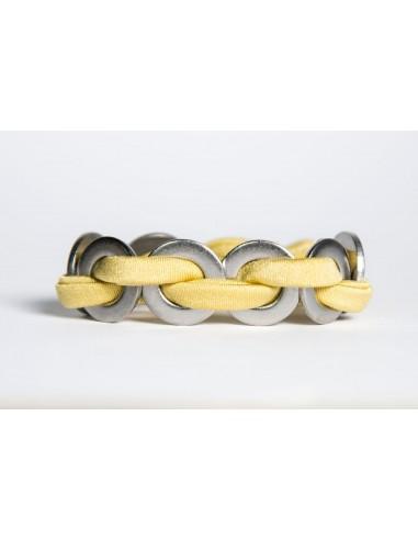Bracciale Maxi Giallo - Seta/Inox realizzato da Svitati di Sara Rizzardi