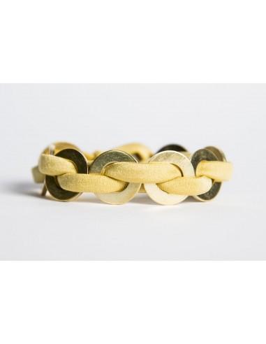 Bracciale Maxi Giallo - Seta/Ottone realizzato da Svitati di Sara Rizzardi