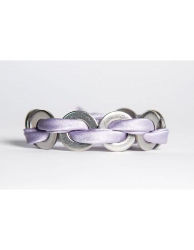 Bracciale Maxi Lilla - Seta/Inox realizzato da Svitati di Sara Rizzardi