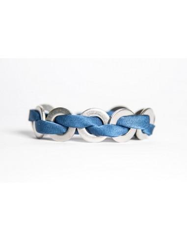 Maxi Navy - Silk / Stainless Steel Bracelet made by Svitati by Sara Rizzardi