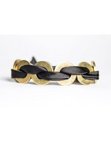 Black Maxi Bracelet - Silk / Brass made by unscrewed by Sara Rizzardi