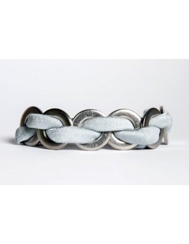 Maxi Silver - Silk / Stainless Steel Bracelet made by Svitati by Sara Rizzardi