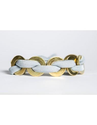 Bracciale Maxi Grigio - Seta/Ottone realizzato da Svitati di Sara Rizzardi