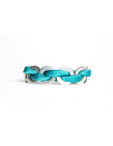 Bracciale Maxi Smeraldo - Seta/Inox realizzato da Svitati di Sara Rizzardi