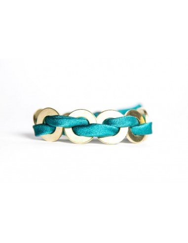 Turquoise Maxi Bracelet - Silk / Brass made by unscrewed by Sara Rizzardi