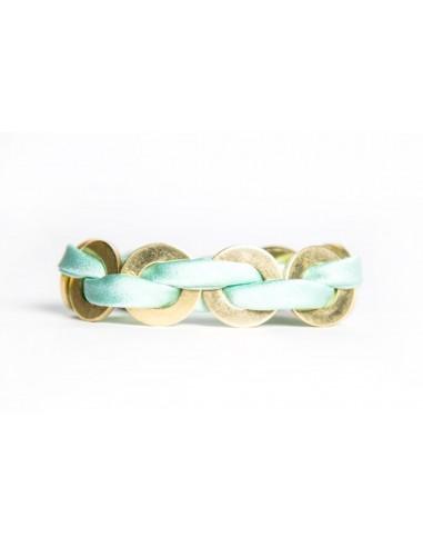 Bracciale Maxi Verde Acqua - Seta/Ottone realizzato da Svitati di Sara Rizzardi