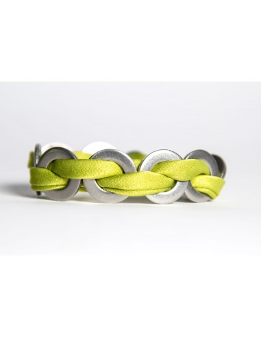 Maxi Lime Green - Silk / Stainless Steel Bracelet made by Svitati by Sara Rizzardi