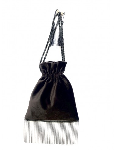 Black Pouch with Fringe by P.M. Post Meridiem Italy