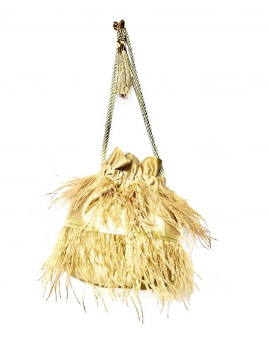 Warm Beige Pouch with Ostrich Feathers