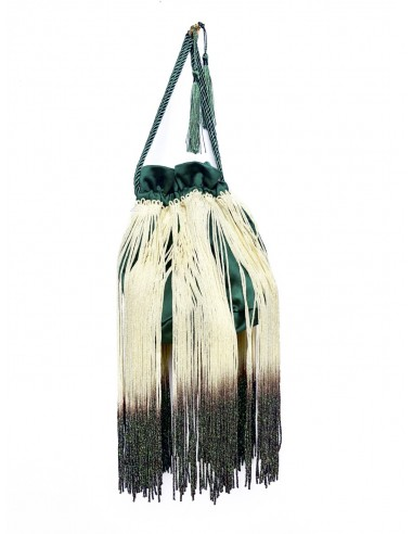 Green Pouch with Fringe by P.M. Post Meridiem Italy