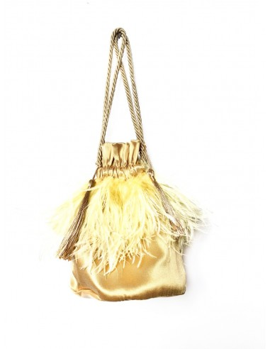 Warm Beige Pouch with Ostrich Feathers by P.M. Post Meridiem Italy