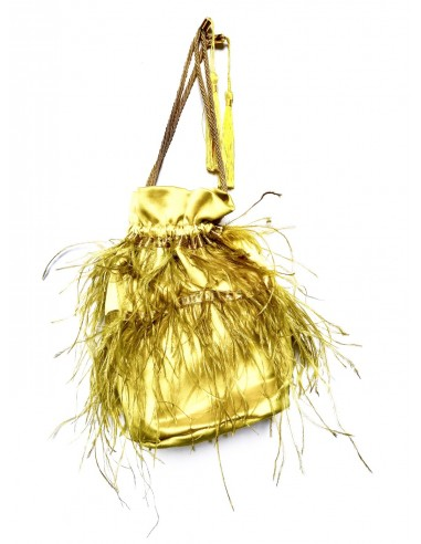 Yellow Pouch with Ostrich Feathers by P.M. Post Meridiem Italy