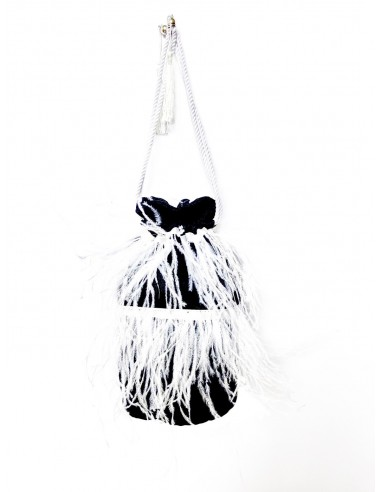 Black Pouch with Ostrich Feathers by P.M. Post Meridiem Italy