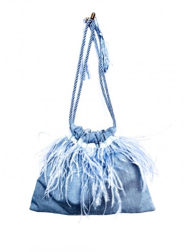 Denim Pouch with Ostrich Feathers