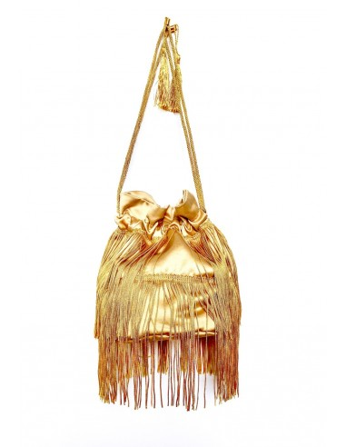 Beige Pouch with Fringe by P.M. Post Meridiem Italy