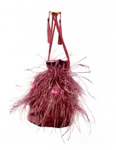 Bordeaux Pouch with Ostrich Feathers by P.M. Post Meridiem Italy