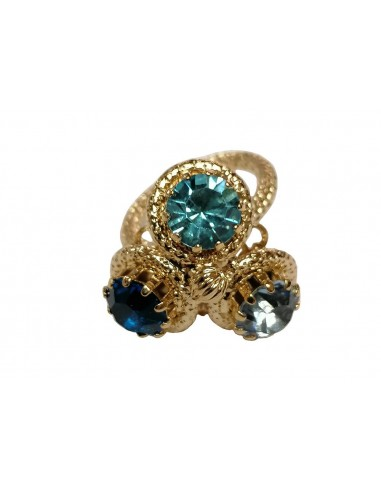 Three Crystals Ring - Blue by Monnaluna Florence Italy