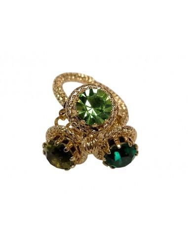 Anello Tre Cristalli Verde realizzato da Monnaluna Firenze