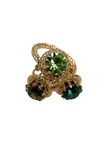 Three Crystals Ring - Green by Monnaluna Florence Italy