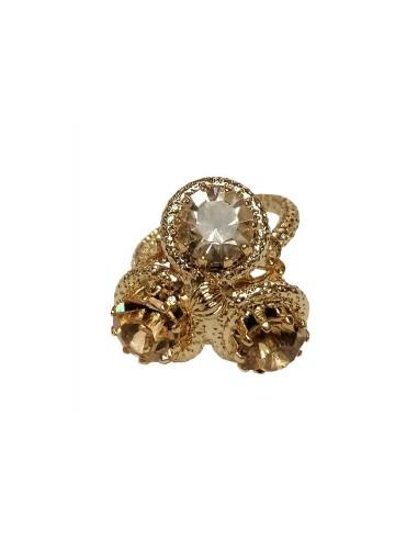 Anello Tre Cristalli Oro realizzato da Monnaluna Firenze