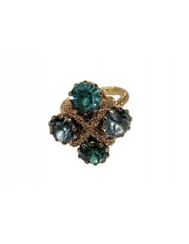 Crystals Braid Ring - Blue by Monnaluna Florence Italy
