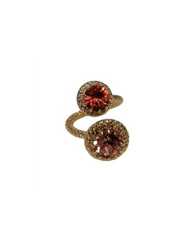 Anello Due Cristalli Rosa realizzato da Monnaluna Firenze