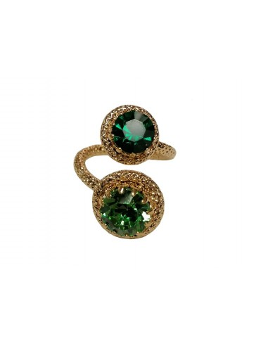 Two Crystals Ring - Emerald by Monnaluna Florence Italy