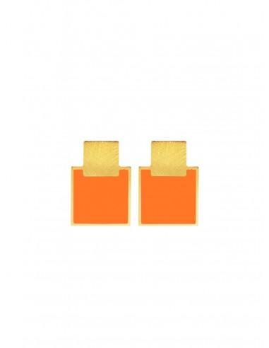 Mini Q Earrings - Orange by Francesca Bianchi Design Arezzo Italy 1