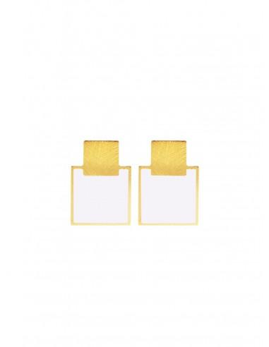 Mini Q Earrings - White