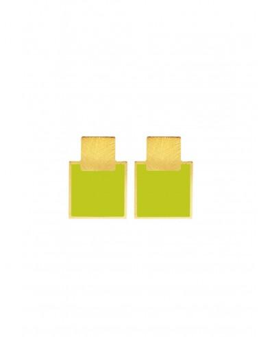 Orecchini Mini Q verde acido di Francesca Bianchi Design Arezzo 1