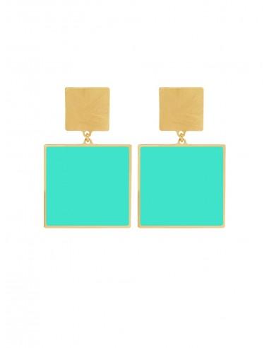 Quadrato Earrings - Turqoise