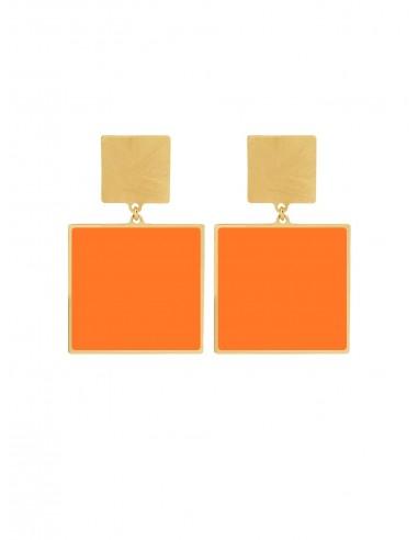 Quadrato Earrings - Orange
