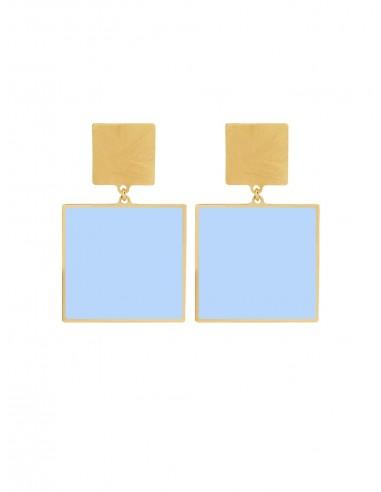 Quadrato Earrings - Light Blue by Francesca Bianchi Design Arezzo Italy 1
