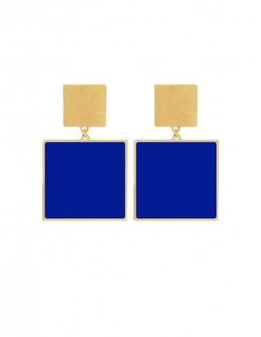 Quadrato Earrings - Electric Blue