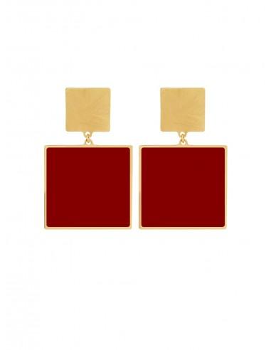 Quadrato Earrings - Bordeaux
