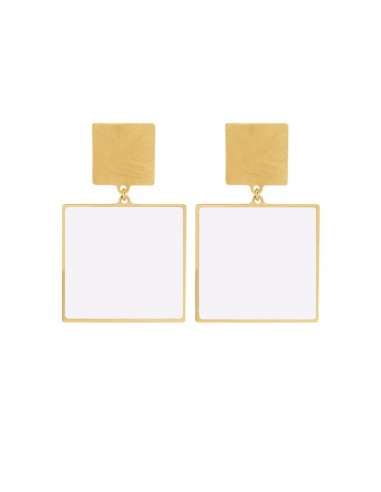 Quadrato Earrings - White by Francesca Bianchi Design Arezzo Italy 1