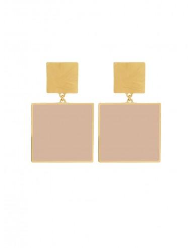 Quadrato Earrings - Cream by Francesca Bianchi Design Arezzo Italy 1
