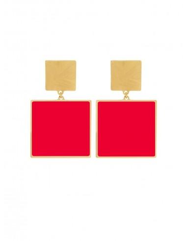 Quadrato Earrings - Red